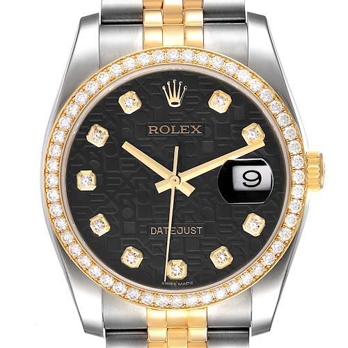 Photo of Rolex Datejust Steel Yellow Gold Diamond Dial Mens Watch 116243 Box Card