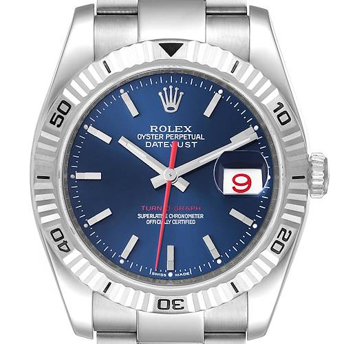 Photo of Rolex Datejust Turnograph Blue Dial Oyster Bracelet Steel Mens Watch 116264