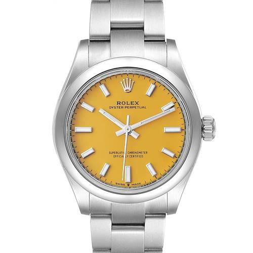 Photo of Rolex Midsize 31mm Yellow Dial Automatic Steel Ladies Watch 277200 Unworn