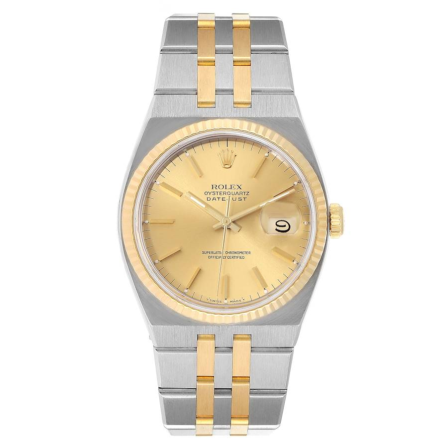 Rolex Oysterquartz Datejust 36mm Steel Yellow Gold Mens Watch 17013 SwissWatchExpo