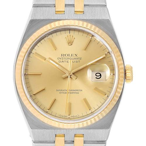 Photo of Rolex Oysterquartz Datejust 36mm Steel Yellow Gold Mens Watch 17013 Box Card