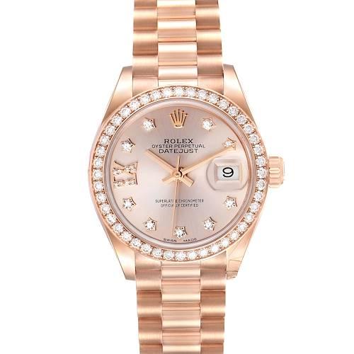 Photo of Rolex President 28 Rose Gold Diamond Ladies Watch 279135 Unworn