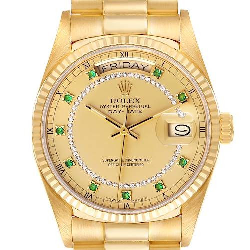 Photo of Rolex President Day-Date Yellow Gold String Emerald Diamond Dial Watch 18038