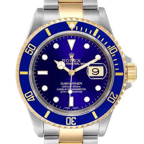Photo of Rolex Submariner Purple Blue Dial Steel Yellow Gold Mens Watch 16613