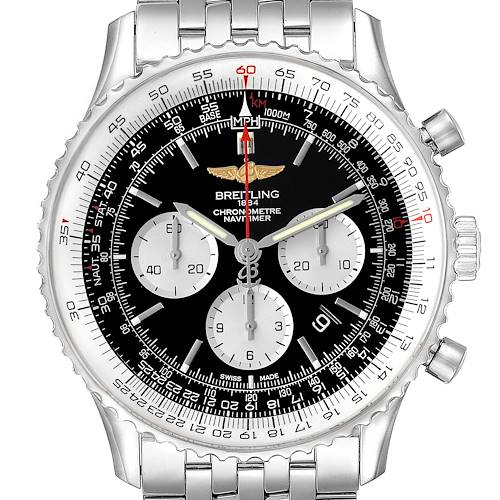 Photo of Breitling Navitimer 01 46mm Black Dial Steel Mens Watch AB0127 Box Card