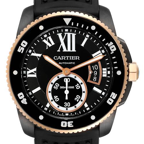 Photo of Cartier Calibre Diver ADLC Steel Rose Gold Mens Watch W2CA0004 Box Papers