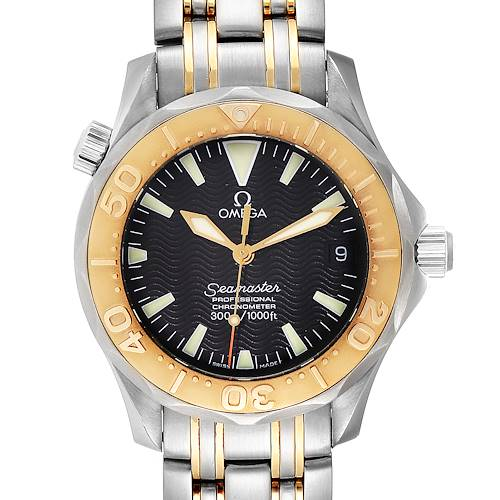 Photo of Omega Seamaster 36 Midsize Black Dial Yellow Gold Steel Watch 2453.50.00