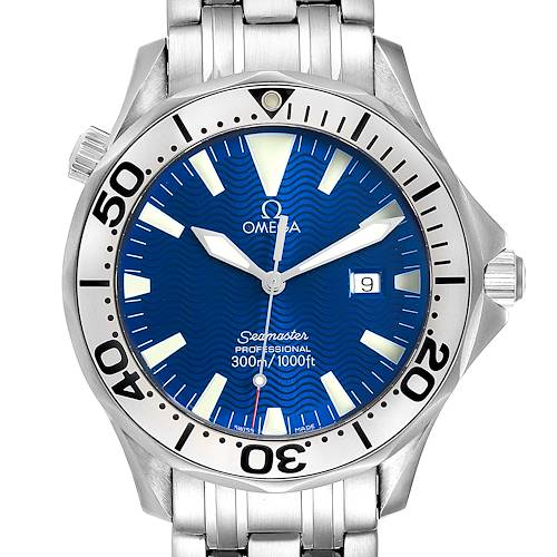 Photo of Omega Seamaster Electric Blue Wave Dial Mens Watch 2265.80.00