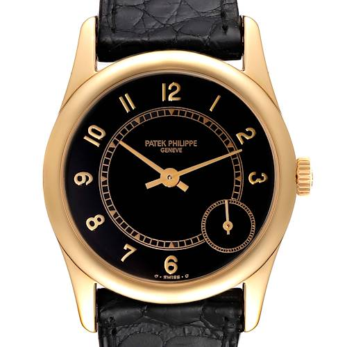 Photo of Patek Philippe Calatrava Yellow Gold Black Dial Automatic Mens Watch 5000