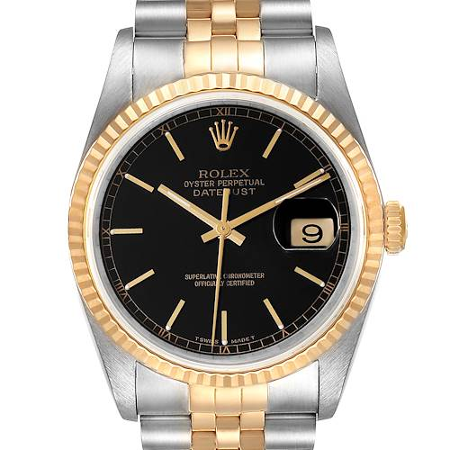 Photo of Rolex Datejust Steel 18K Yellow Gold Black Dial Mens Watch 16233