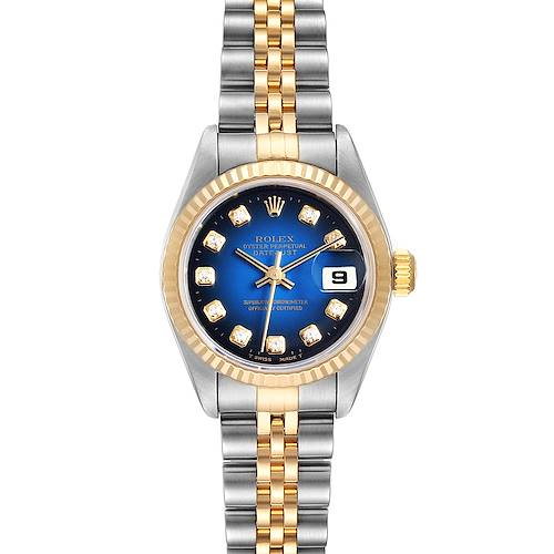 Photo of Rolex Datejust Steel Yellow Gold Blue Vignette Diamond Ladies Watch 79173