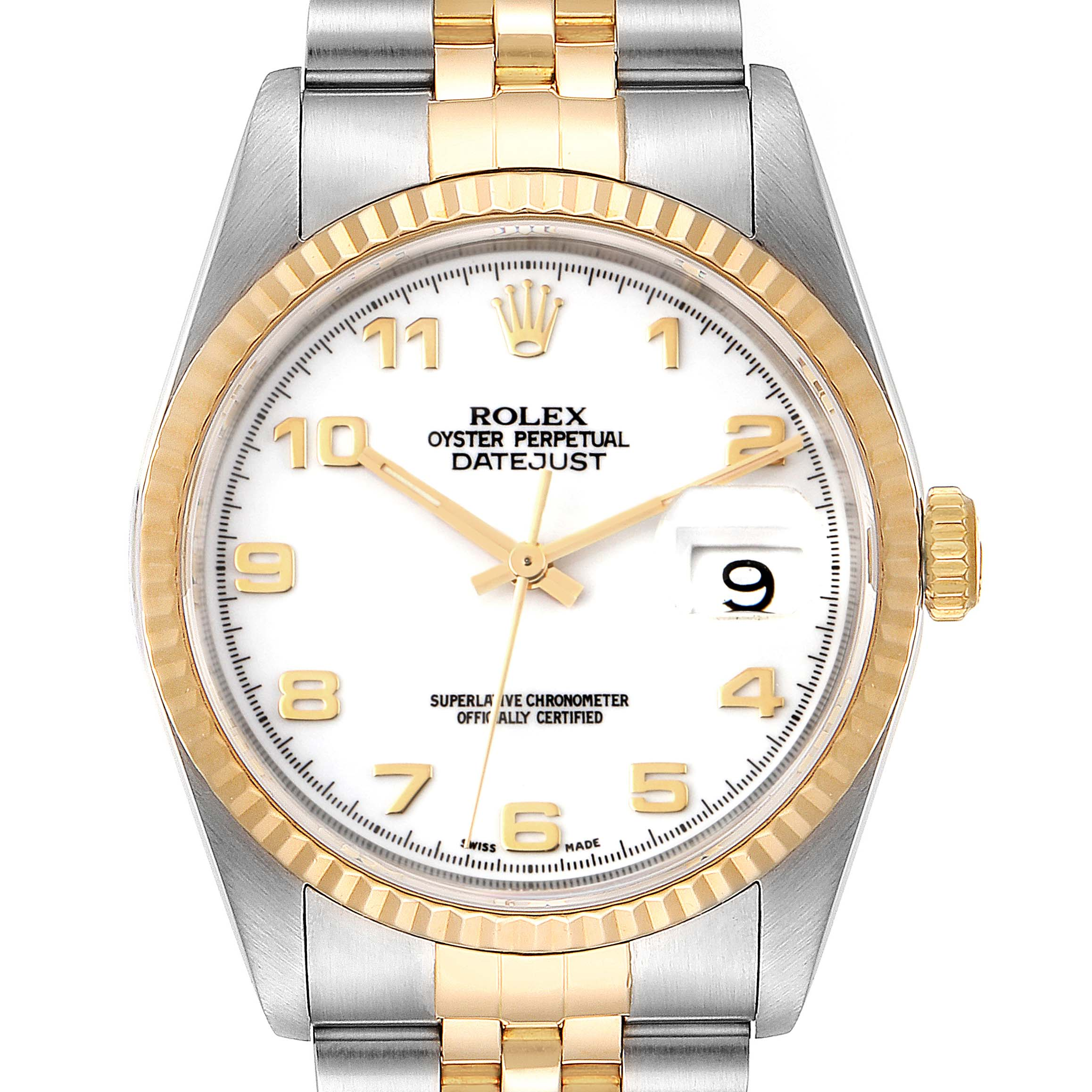 Rolex Datejust Steel Yellow Gold White Dial Mens Watch 16233 SwissWatchExpo