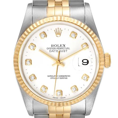 Photo of Rolex Datejust Steel Yellow Gold White Diamond Dial Mens Watch 16233