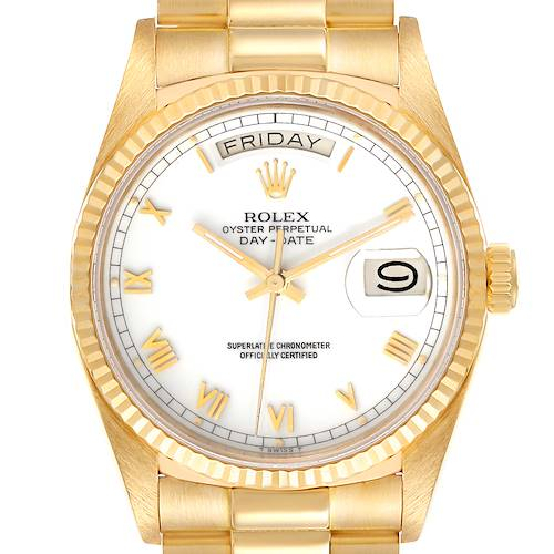Photo of Rolex President Day-Date 36 White Dial Yellow Gold Mens Watch 18038
