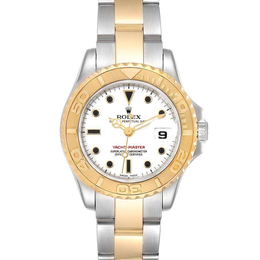 Rolex Yachtmaster 29 Steel Yellow Gold White Dial Ladies Watch 169623 Box Papers SwissWatchExpo