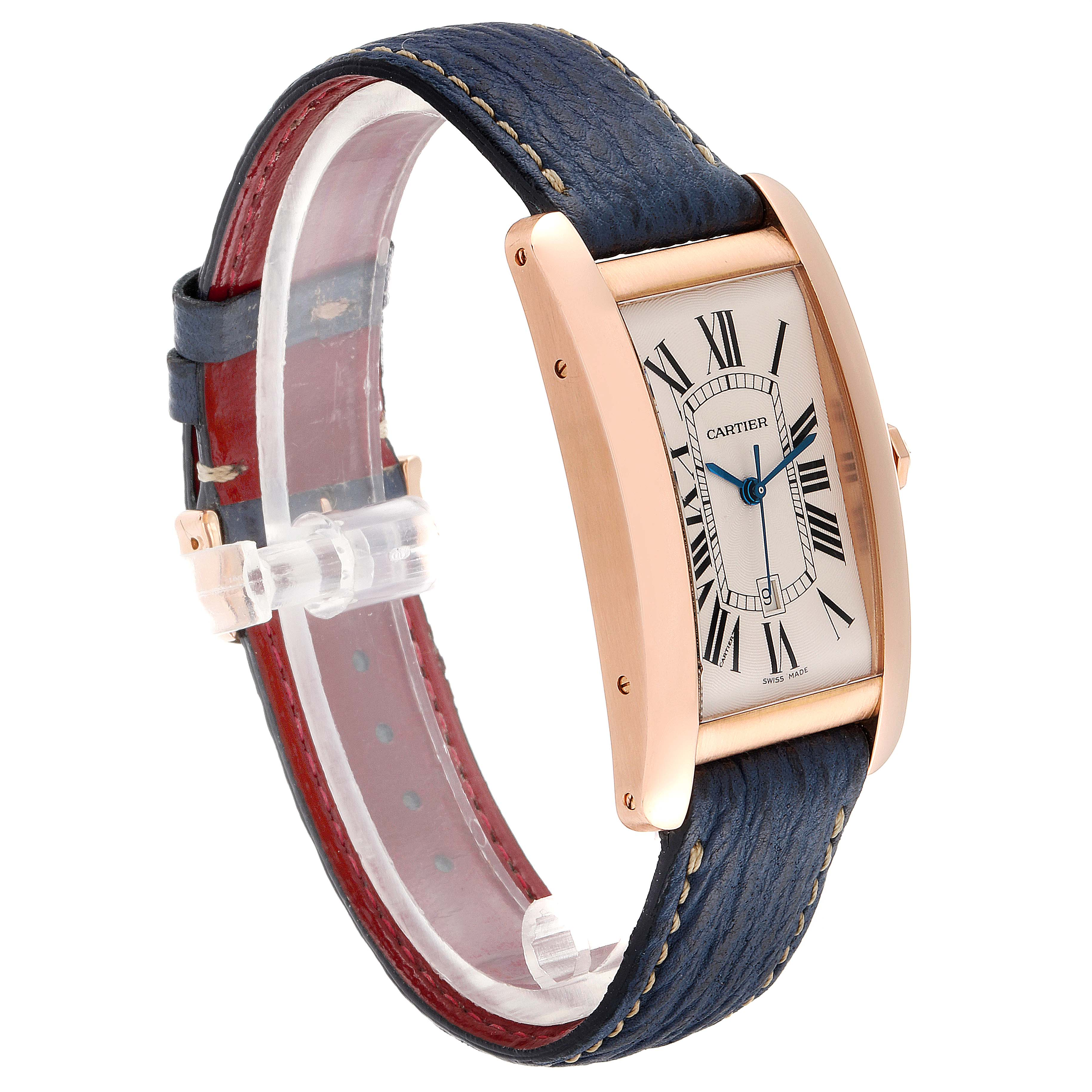 Cartier Tank Americaine Large 18K Rose Gold Blue Strap Watch W2609156 SwissWatchExpo