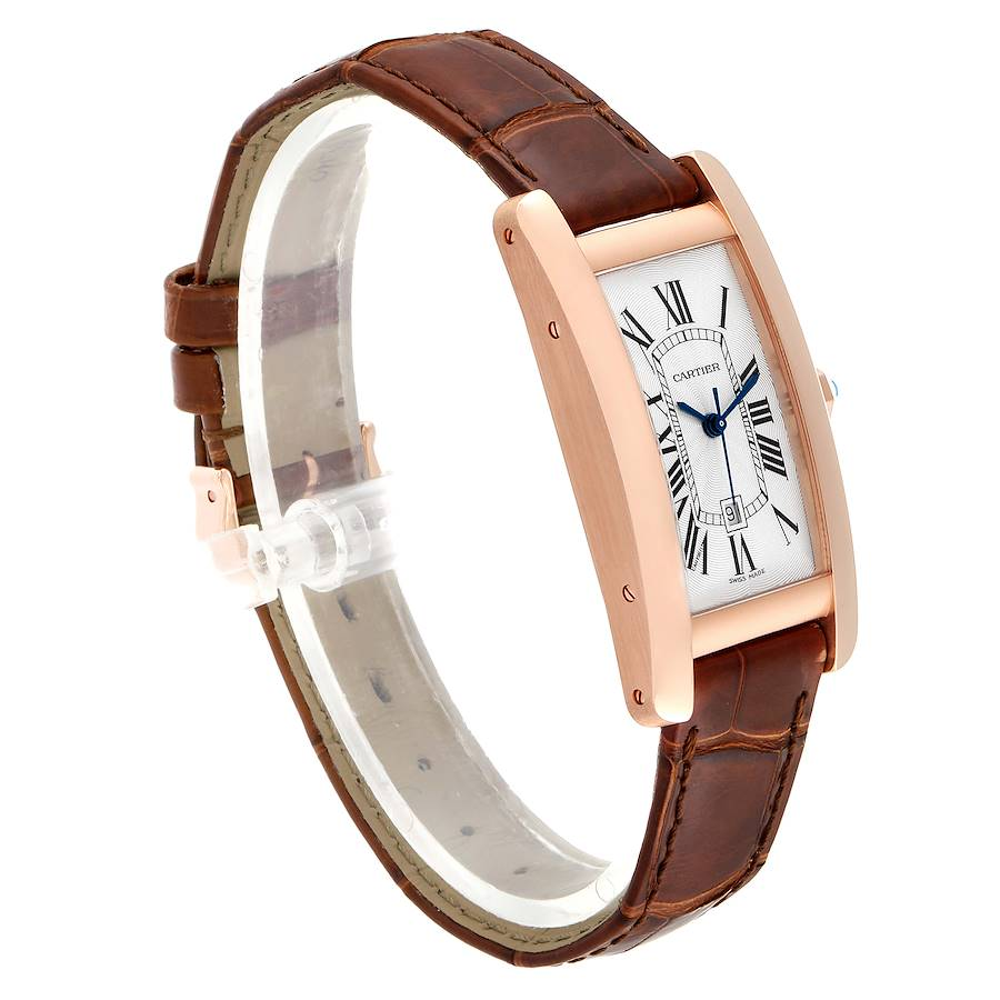 Cartier Tank Americaine Midsize Rose Gold Ladies Watch W2620030 Box Card SwissWatchExpo