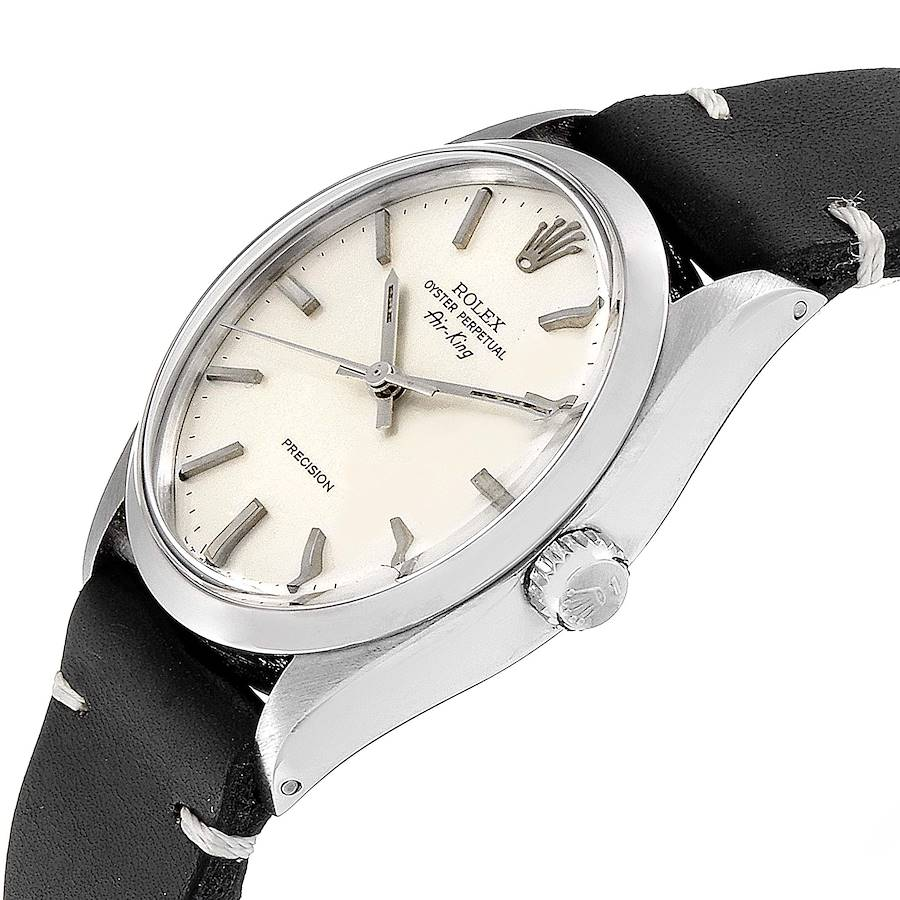 Rolex Air King Silver Dial Brown Strap Vintage Steel Mens Watch 5500 SwissWatchExpo