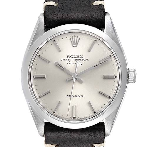 Photo of Rolex Air King Silver Dial Brown Strap Vintage Steel Mens Watch 5500