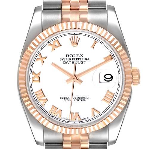 Photo of Rolex Datejust 36mm Steel Rose Gold White Dial Unisex Watch 116231 Unworn