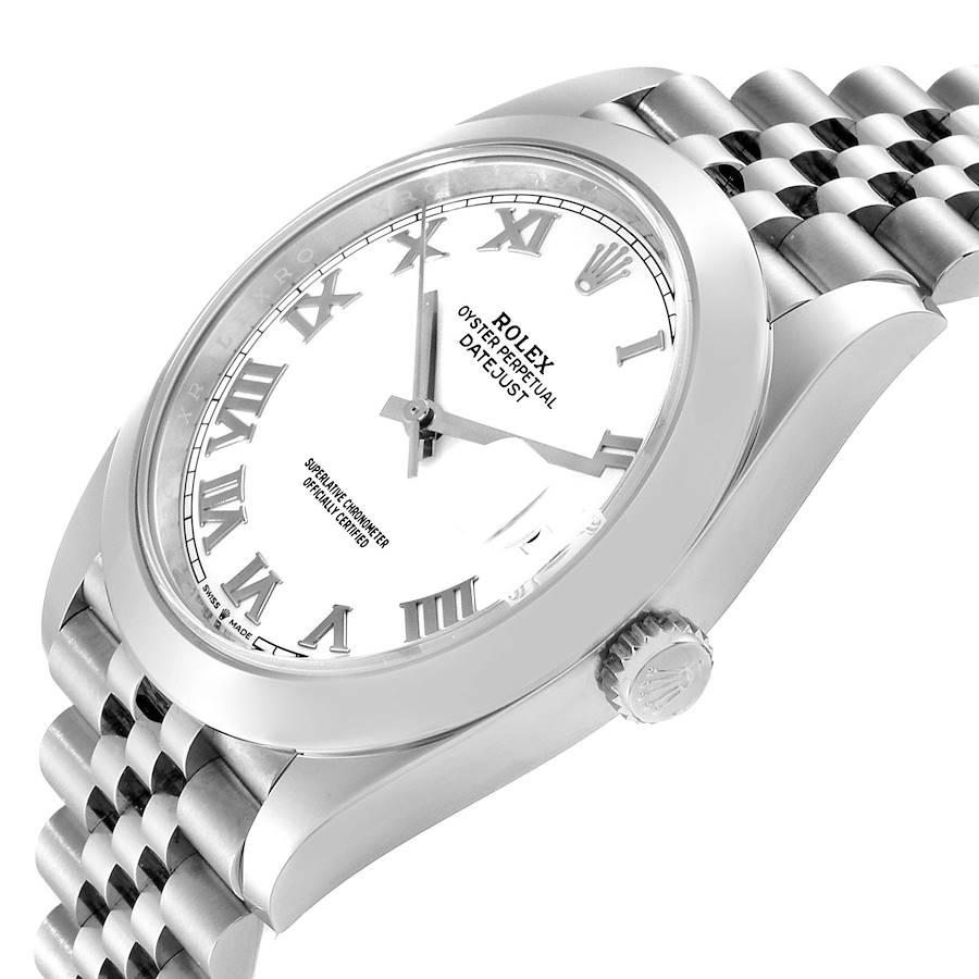 Rolex Datejust 41 White Dial Steel Mens Watch 126300 Box Card Unworn SwissWatchExpo