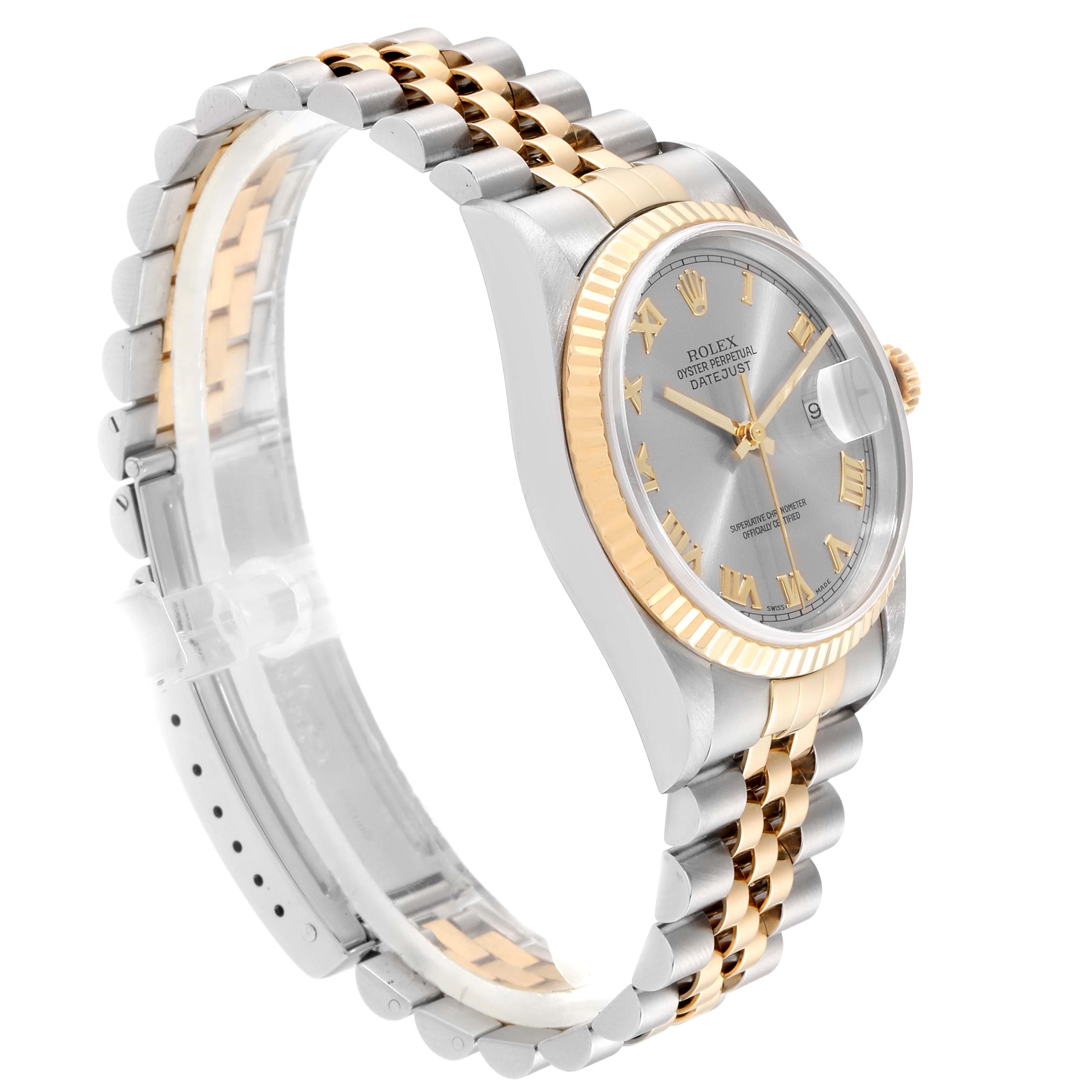Rolex Datejust Steel Yellow Gold Slate Dial Mens Watch 16233 SwissWatchExpo