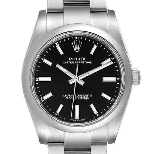 Photo of Rolex Oyster Perpetual 34mm Black Dial Steel Watch 124200 Unworn