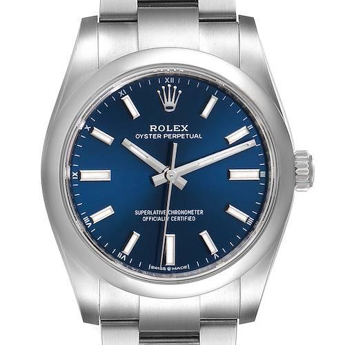 Photo of Rolex Oyster Perpetual 34mm Blue Dial Steel Mens Watch 124200 Unworn
