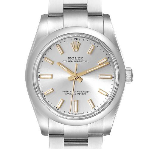 Photo of Rolex Oyster Perpetual 34mm Silver Dial Steel Mens Watch 124200 Unworn