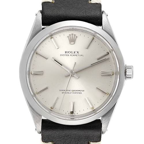 Photo of Rolex Oyster Perpetual Silver Linene Dial Vintage Steel Mens Watch 1002