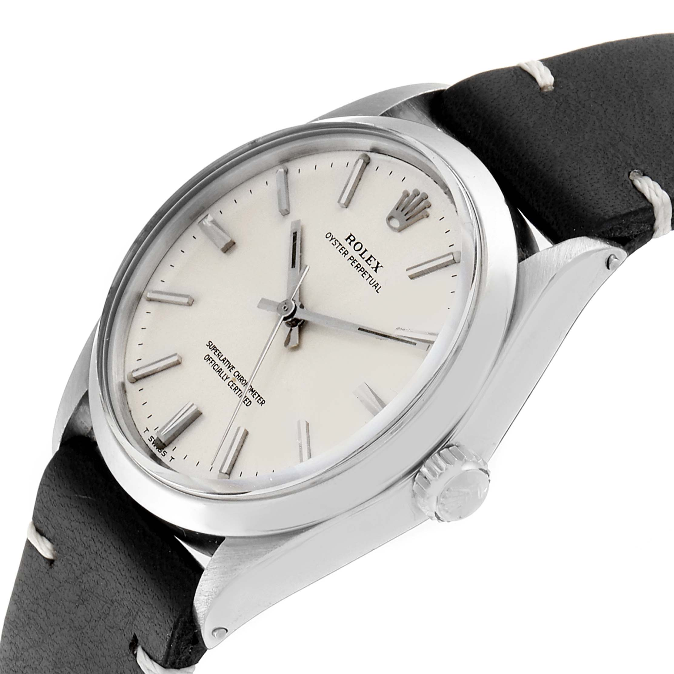 Rolex Oyster Perpetual Silver Linene Dial Vintage Steel Mens Watch 1002 SwissWatchExpo