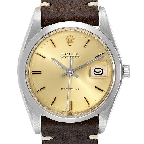 Photo of Rolex OysterDate Precision Brown Strap Steel Vintage Mens Watch 6694