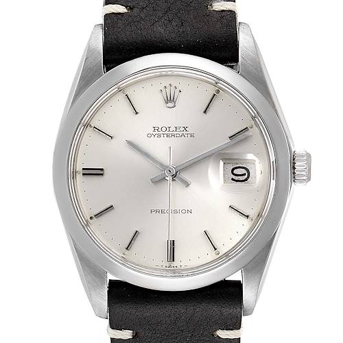 Photo of Rolex OysterDate Precision Domed Bezel Steel Vintage Mens Watch 6694