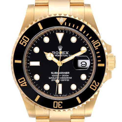 Photo of Rolex Submariner 18k Yellow Gold Black Dial Bezel Mens Watch 126618 Unworn