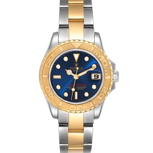 Photo of Rolex Yachtmaster 29 Steel Yellow Gold Blue Dial Watch 169623 Box Papers