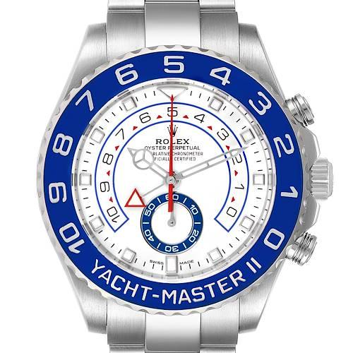 Photo of Rolex Yachtmaster II 44 Blue Cerachrom Bezel Steel Mens Watch 116680 Unworn