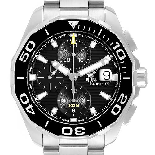 Photo of Tag Heuer Aquaracer Black Dial Chronograph Steel Mens Watch CAY211A