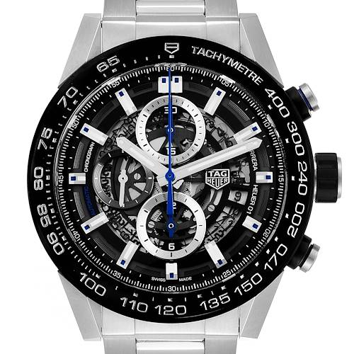 Photo of TAG Heuer Carrera Calibre Heuer 01 Skeleton Mens Watch CAR2A1T Box Card