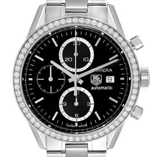 Photo of Tag Heuer Carrera Steel Black Dial Diamond Chronograph Mens Watch CV201J