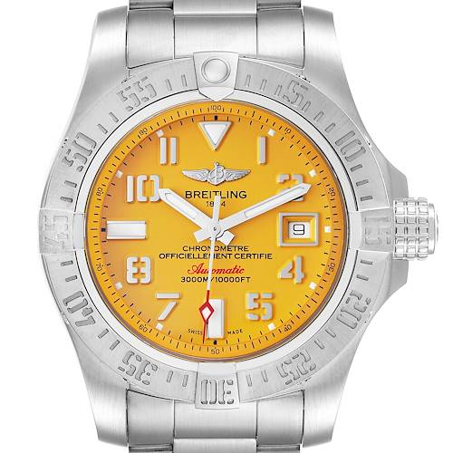 Photo of Breitling Avenger II 45 Seawolf Yellow Dial Mens Watch A17331 Box Papers
