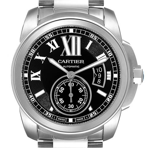 Photo of Calibre De Cartier Stainless Steel Black Dial Mens Watch W7100016 Box Papers