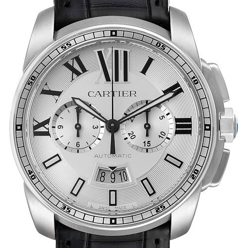 Photo of Calibre De Cartier Steel Chronograph Silver Dial Watch W7100046 Box Papers