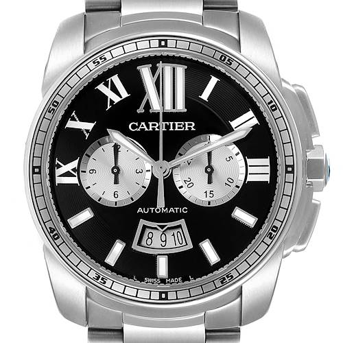 Photo of Cartier Calibre Black Dial Cronograph Steel Mens Watch W7100061 Box Papers