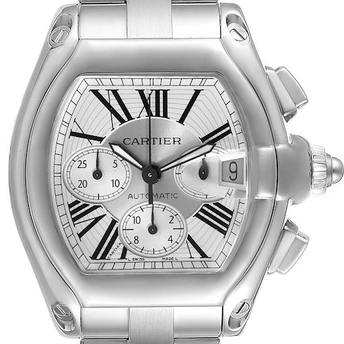 Photo of Cartier Roadster XL Chronograph Automatic Steel Mens Watch W62019X6 Box Papers