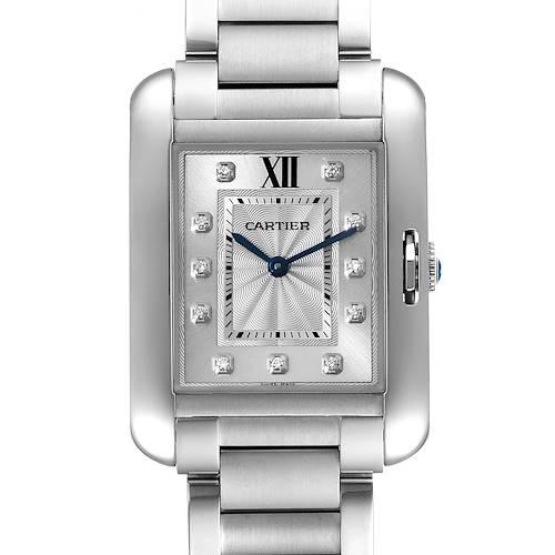 Photo of Cartier Tank Anglaise Medium Steel Diamond Ladies Watch W4TA0004 Unworn