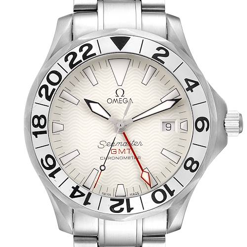 Photo of Omega Seamaster 300M GMT Great White Wave Dial Mens Watch 2538.20.00