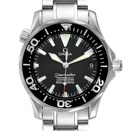 Photo of Omega Seamaster 36mm Midsize Black Wave Dial Steel Watch 2252.50.00 Box Card