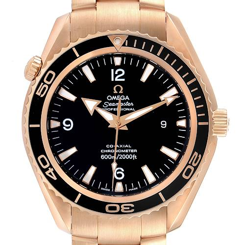 Photo of Omega Seamaster Planet Ocean Rose Gold Mens Watch 222.60.46.20.01.001 Box Card
