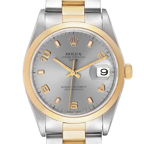 Photo of Rolex Date Steel Yellow Gold Slate Dial Mens Watch 15203 Box Papers