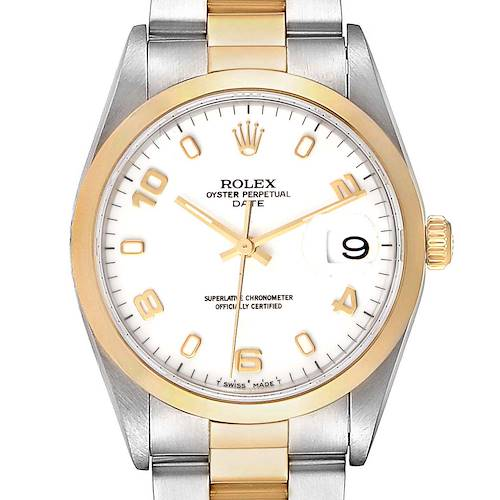 Photo of Rolex Date Steel Yellow Gold White Dial Mens Watch 15203 Box Papers